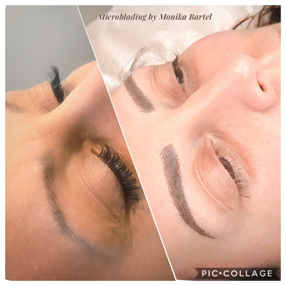 Microblading and manual shading/cover on previously tattooed eyebrows'